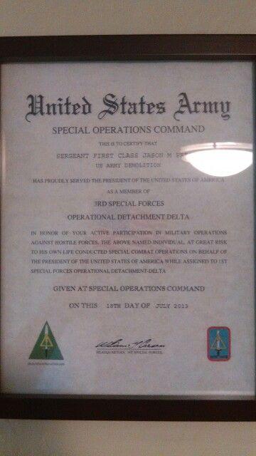 My certificate of appreciation from OP DET DELTA Army days - army certificate of appreciation