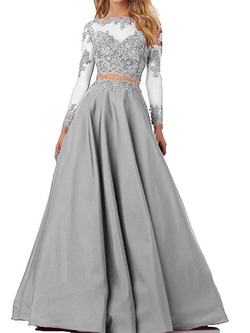 bee6fb9cc Amazon.com: Momoai Women's Beaded Long Sleeve Lace Evening Party Dress  Formal Gown Two Pieces Prom Dresses Long: Clothing
