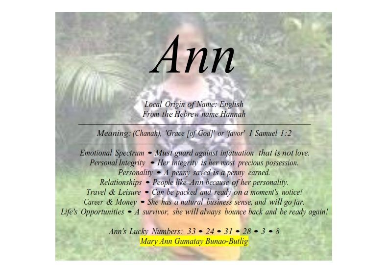 Meaning Of The English Female Name Ann Is Grace Of God Female Names Meant To Be Names With Meaning