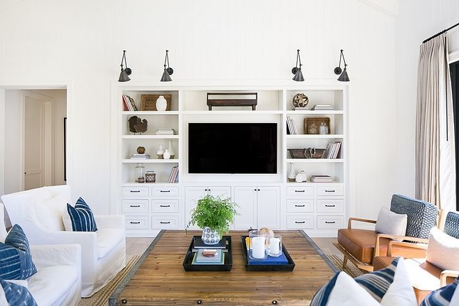 Living room without fireplace cabinet A custom built-in ...