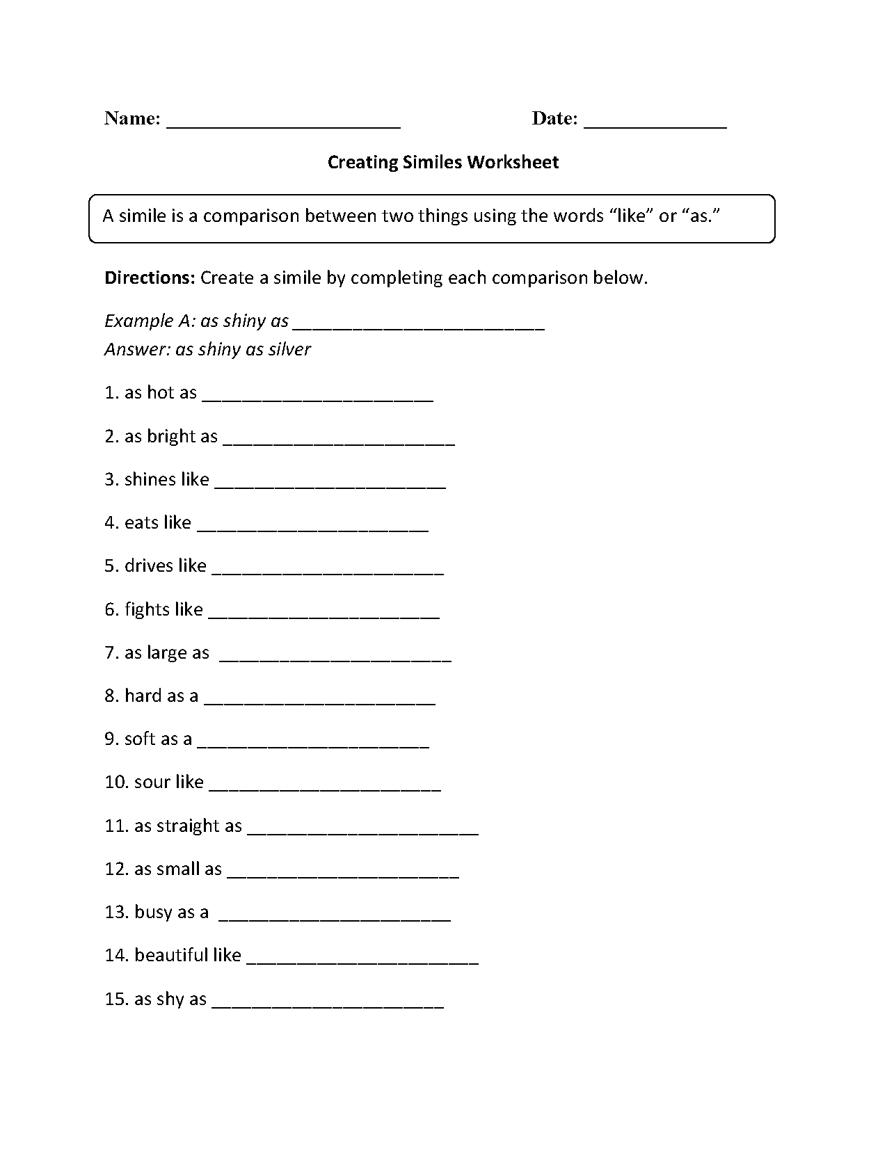 Creating Similes Worksheet