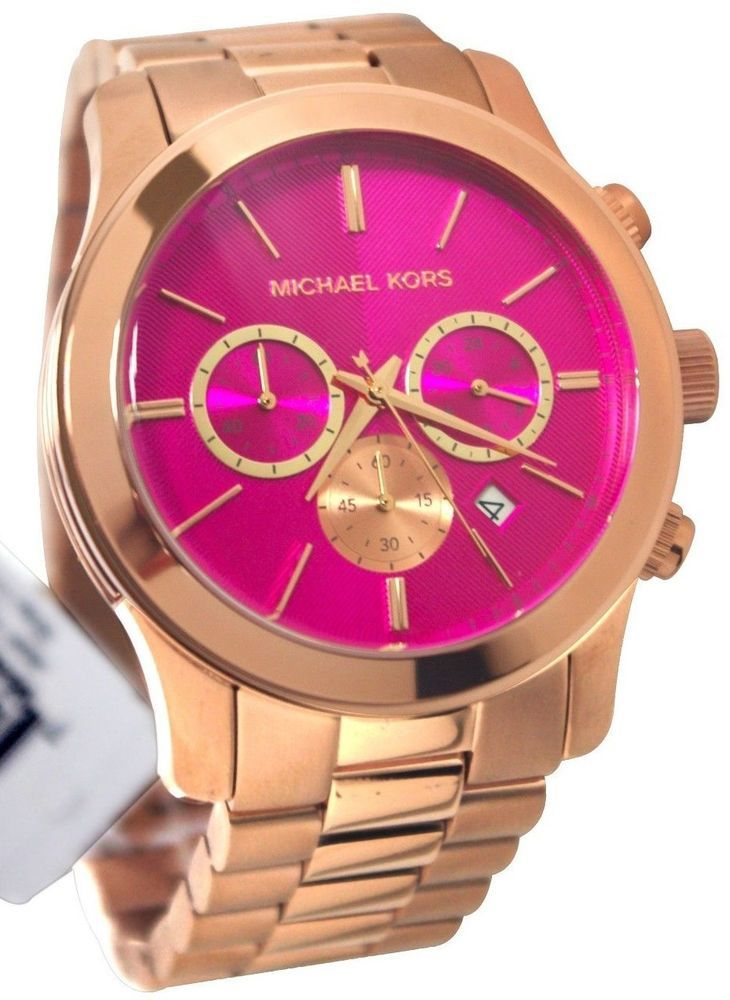 a4fce806d20be MICHAEL KORS LADIES OVER SIZED PINK 36MM ROSE GOLD BRACELET CHRONO WATCH  MK5931  MichaelKors
