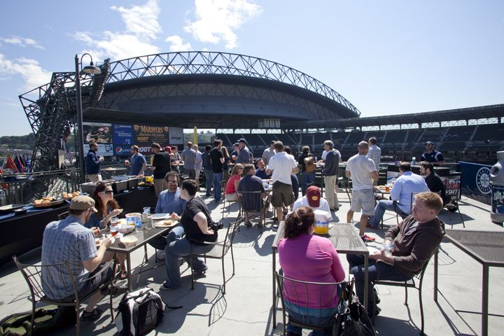 Lookout Landing. Located down the left field line, this space has a bird's eye view of Safeco Field, Elliott Bay and the cityscape. #Mariners