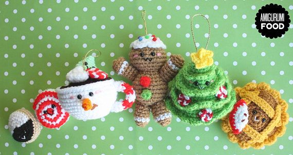 Christmas Crochet pattern Amigurumi Food:Christmas tree, Apple pie, Black and White cookies, Snowman Hot Chocolate, Gingerbread man and more
