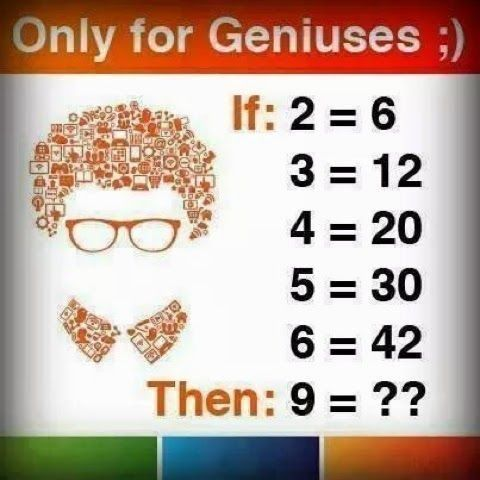 If 2 = 6 then 9 = ?? - Solve Math Puzzles - Only for Genius Puzzles Images - http://picsdownloadz.com/puzzles/if-2-is-6-then-9-geniuses-maths-puzzles-pics/