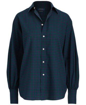 8efcc06b Polo Ralph Lauren Tartan Flannel Cotton Boyfriend Shirt - Evergreen/Navy 10