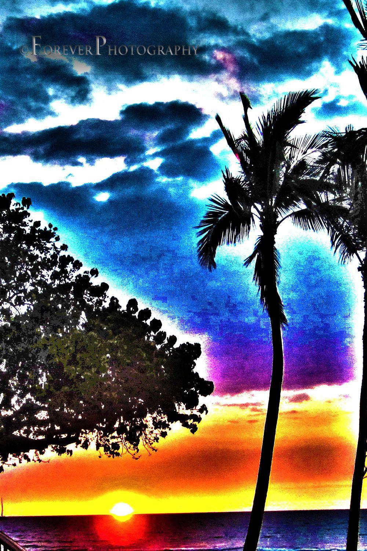 Hawaiian Heat  Modern Blue Purple Aqua Palm Tree by foreverphoto, $15.00