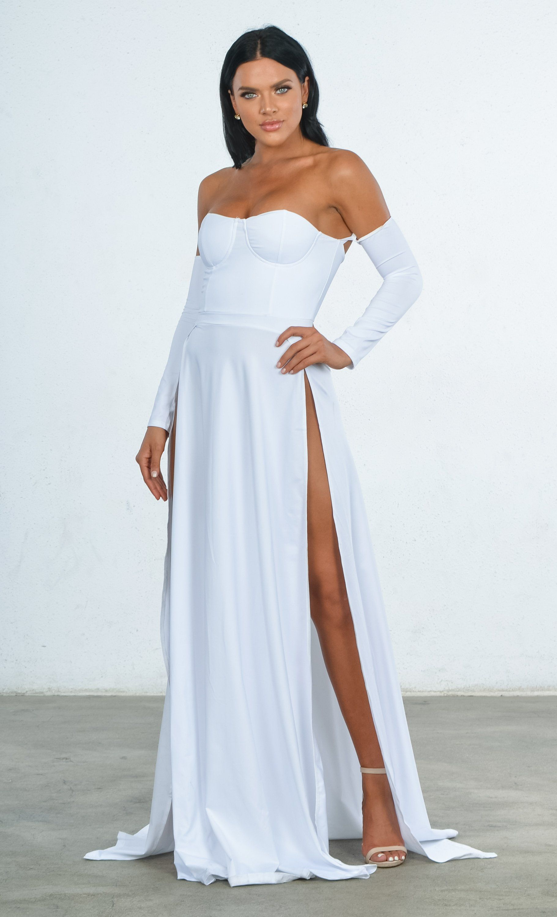 7dad20e77a Indie XO You re An Angel White Double Slit Off the Shoulder Bustier Lo