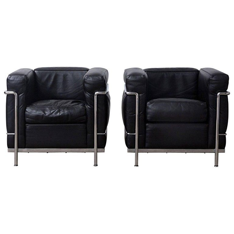 1928 Le Corbusier Lc2 Easy Chair Black Leather By Cassina