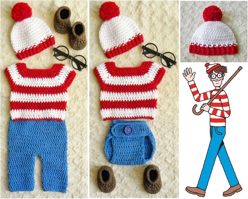Handmade Waldo-Inspired baby crochet outfit/costume. Newborn to 12 ...
