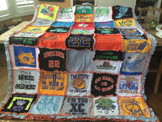 CUSTOM HANDMADE RAGGED T-Shirt Blanket by isabellabluedesigns
