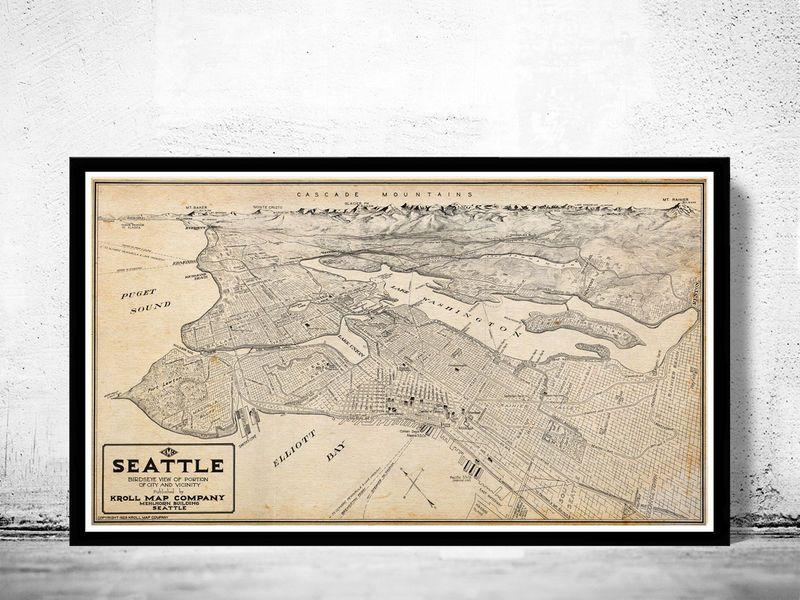 Old Map of Seattle Washington 1925 Crafts Printables