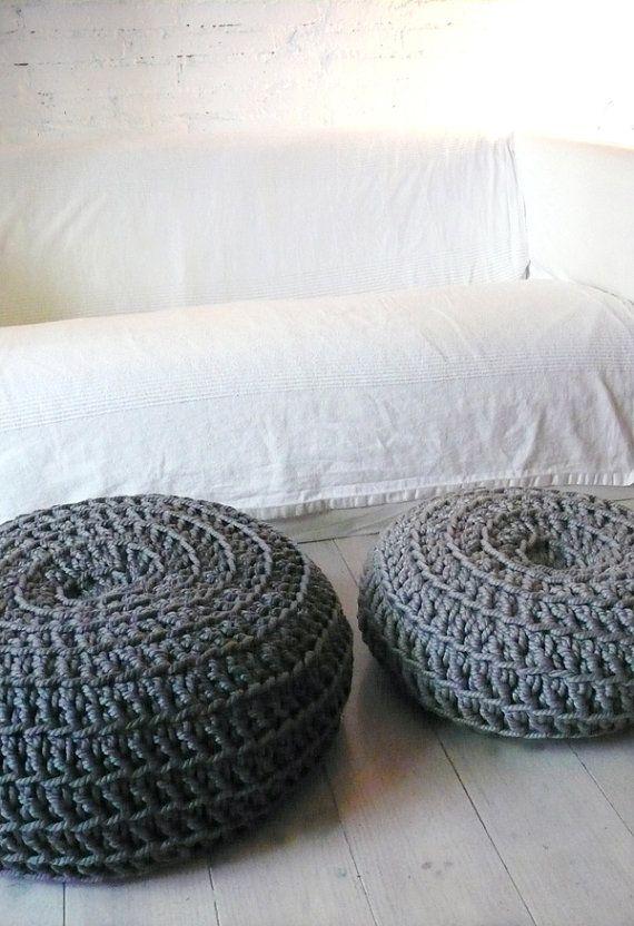Giant Floor Cushion Crochet - Dark Grey | Giant floor cushions, Dark ...
