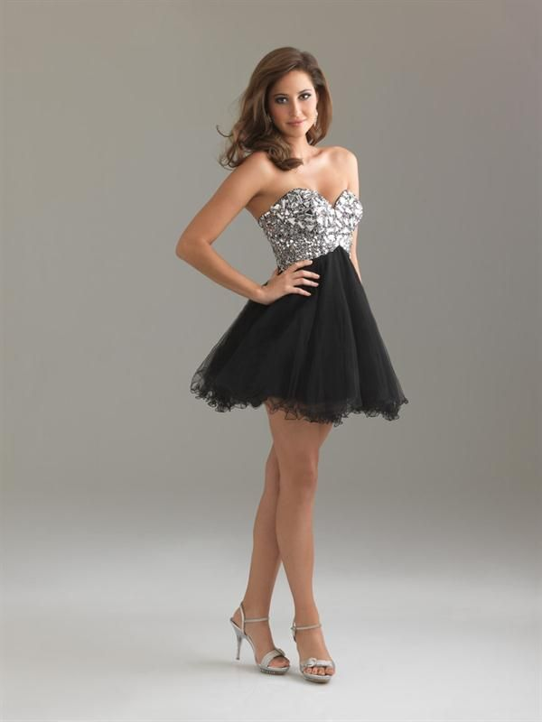 Organza Sweetheart Beaded Black Short Strapless Dress Pretty