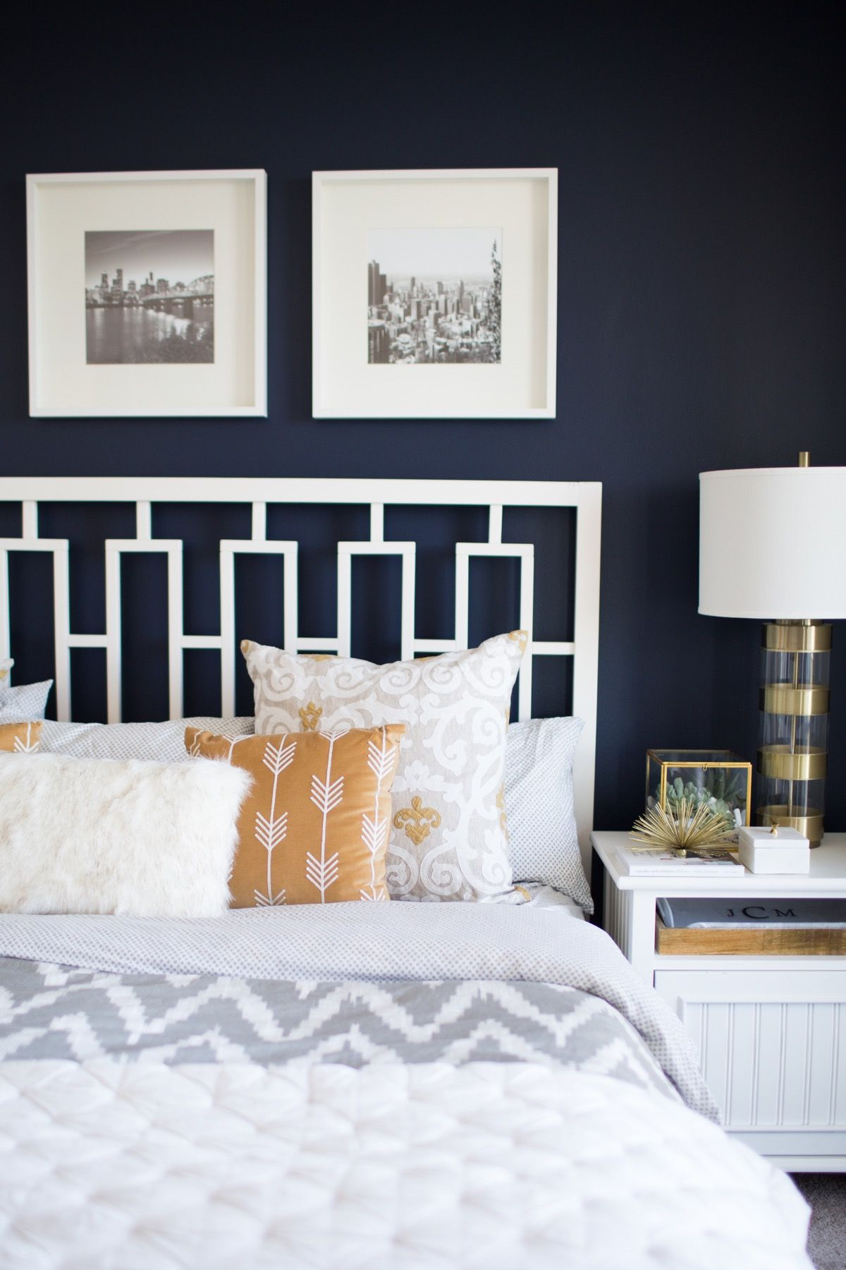 A Look Inside A Blogger S Navy And Mustard Bedroom Navy Bedroom Walls Wall Decor Bedroom Feature Wall Bedroom
