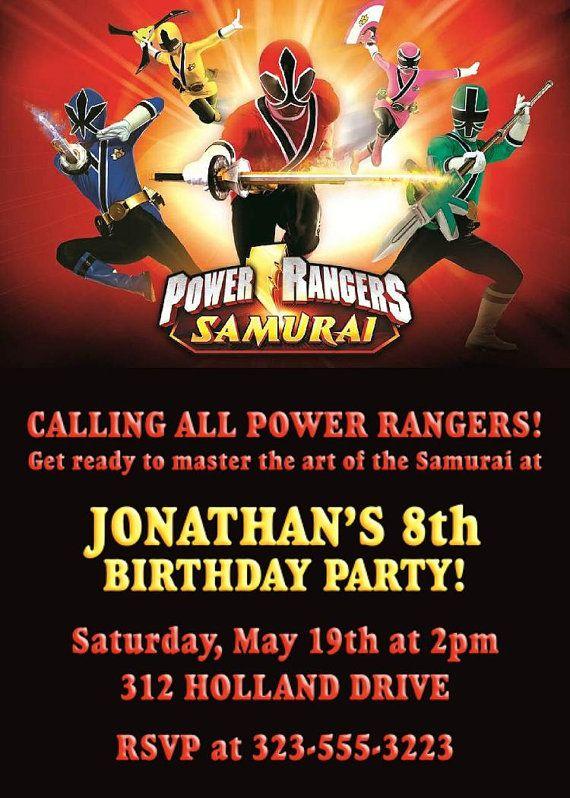Power Ranger Invitation All Rangers Samurai Birthday