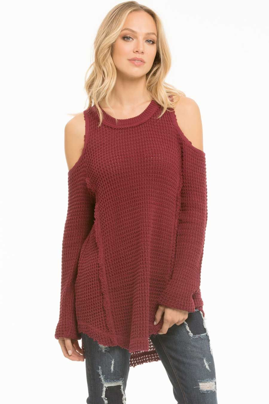 1e5717a240 Elan Clothing Cold Shoulder Sweater in Burgundy   my style   Fashion ...