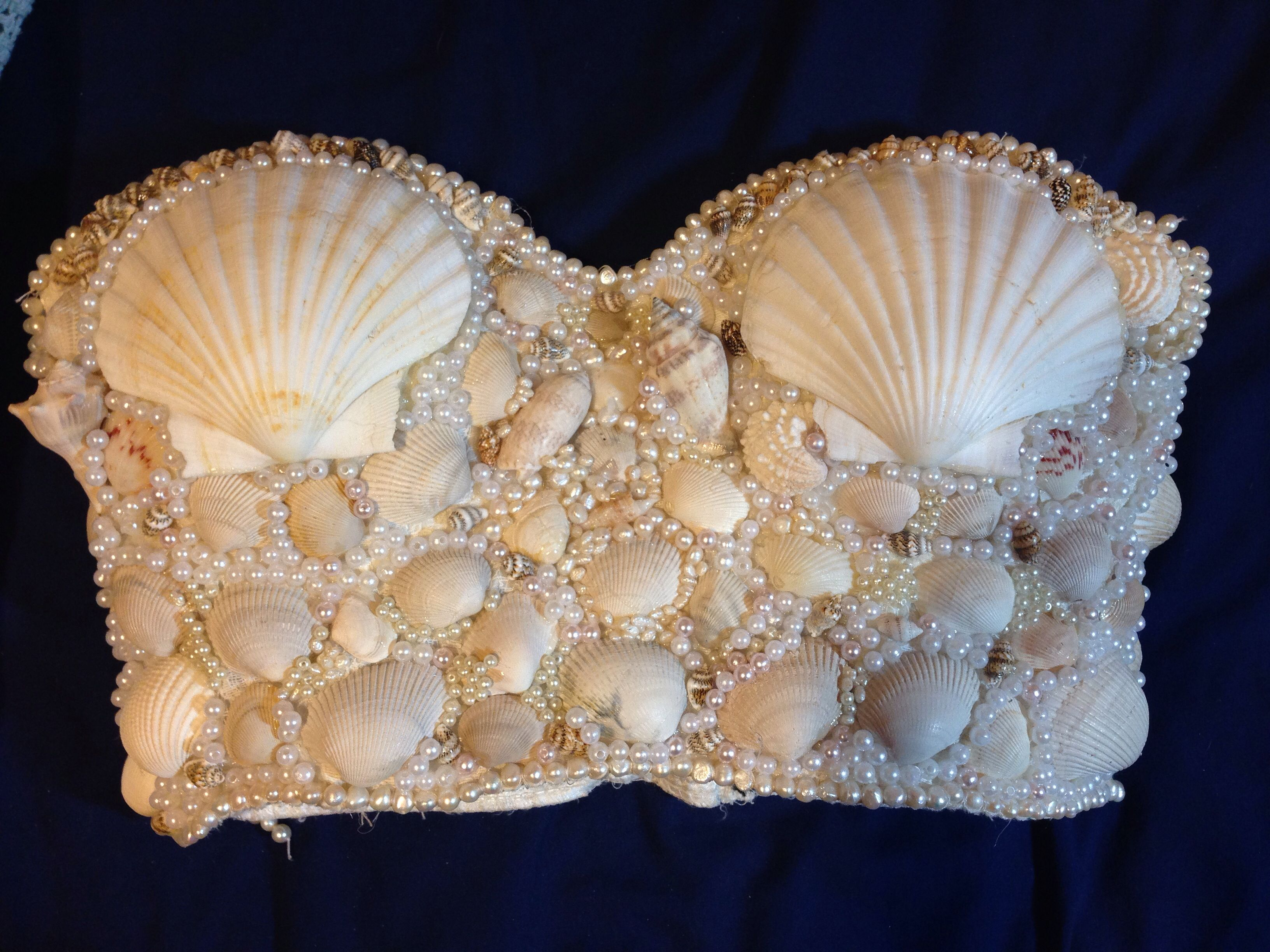 d8b5d227061 My DIY mermaid bra top. Inspired by Kim Kardashian s beautiful mermaid  costume from last year. All of the shells except the 2 large ones were  found on the ...