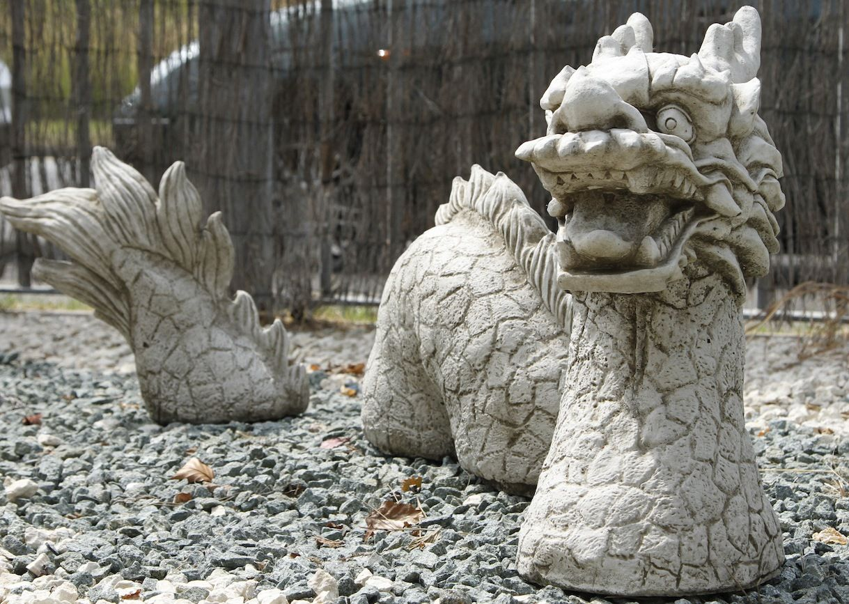 3 Piece Dragon Stone Cast Garden Ornament Garden
