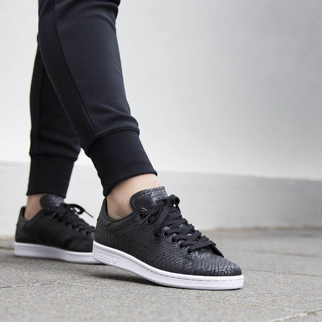 ADIDAS ORIGINALS STAN SMITH: Black/Reptile (WOMENS) | EXCLUSIVE | Available  at