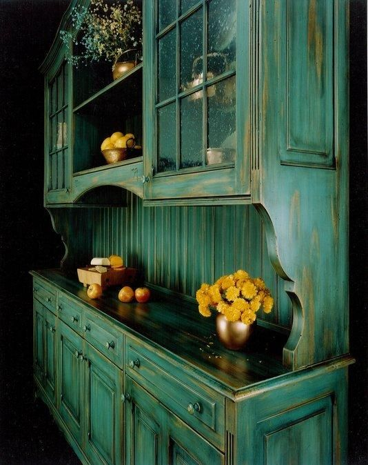 Distressed Green Kitchen Cabinets distressed blue green hutch great for a country kitchen. i would