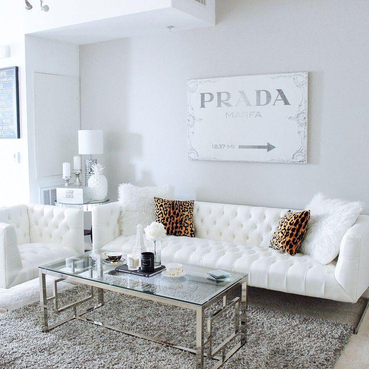 Gray U0026 White Living Room Decor | White Tufted Sofa | Prada Canvas | Living  Room Of Hayley Larue From BlondieintheCity.com
