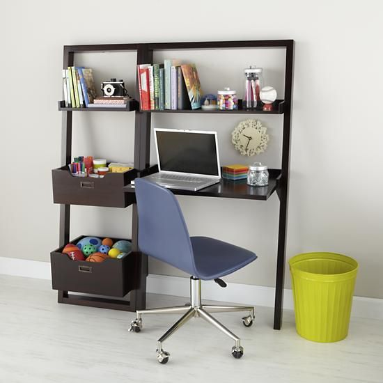 The Land Of Nod | Kidsu0027 Desk: Kids Chocolate Leaning Wall Bookcase In  Bookcases