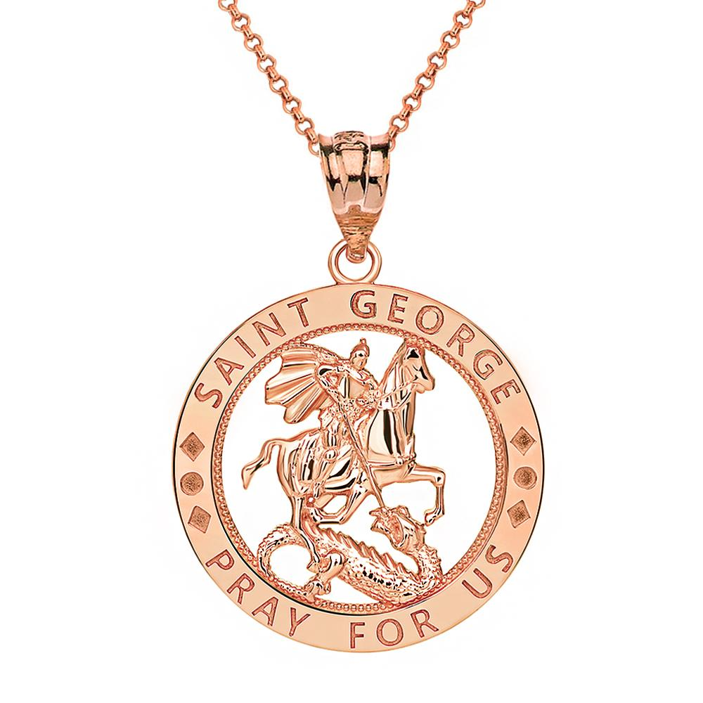 CaliRoseJewelry 14k Gold Saint Francis of Assisi Pray for Us Round Charm Pendant Necklace