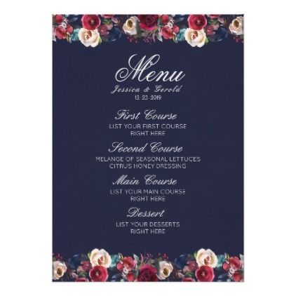 Navy burgundy merlot floral wedding menu card floral style flower navy burgundy merlot floral wedding menu card floral style flower flowers stylish diy personalize mightylinksfo Choice Image