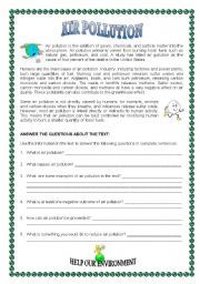 english worksheet air pollution education pinterest air pollution worksheets and english. Black Bedroom Furniture Sets. Home Design Ideas