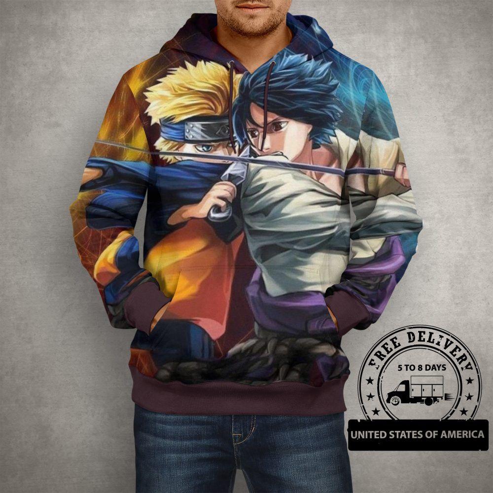 Anime naruto vs sasuke hoodie 3d printed pullover hoodie