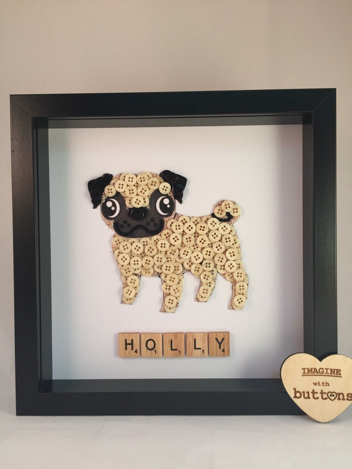 Pug Dog Button Art Frame By Imaginewithbuttons On Etsy