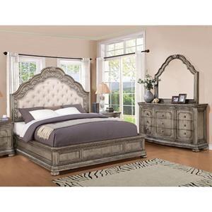 San Cristobal 4 Piece King Bedroom Set in Antique Silver   Nebraska ...