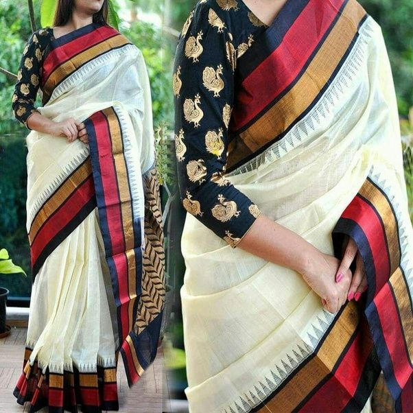 16c32f8c9282f What blouse colour will suit an off-white silk saree with a maroon border   - Quora