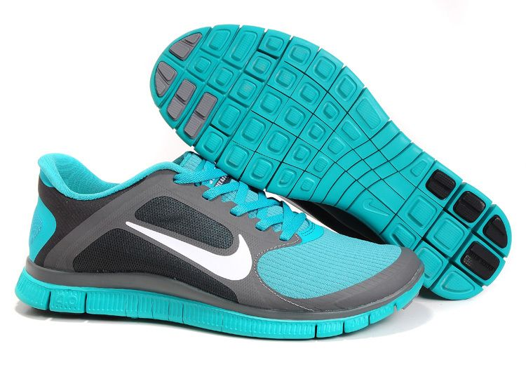 Mens Nike Free 4.0 V3 Midnight Fog White Sport Turquoise Shoes - Click  Image to Close