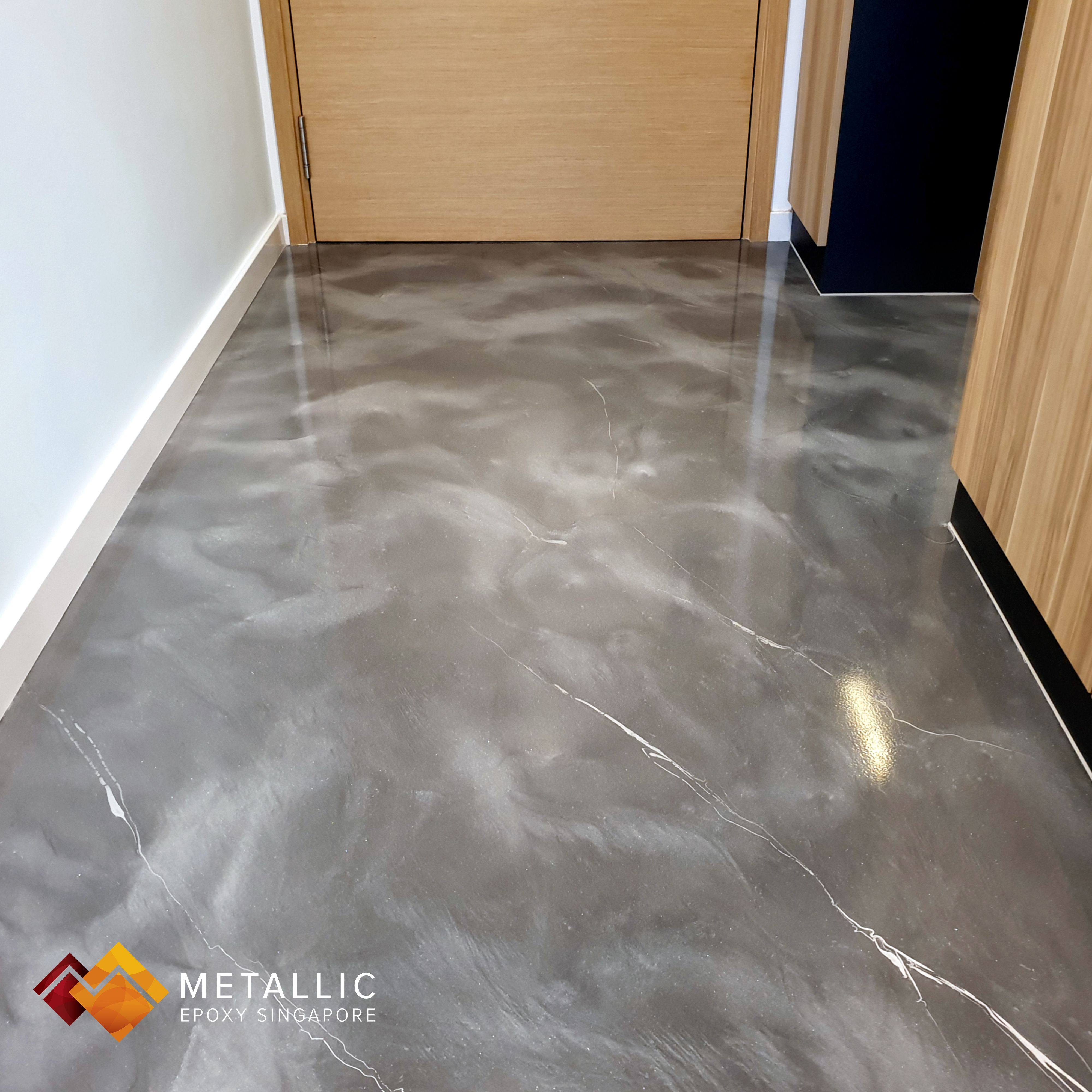 Metallic Epoxy Singapore Silver Base With Chrome Silver Marble Veins Living Room Floor In 2020 Flooring Living Room Flooring Floor Design