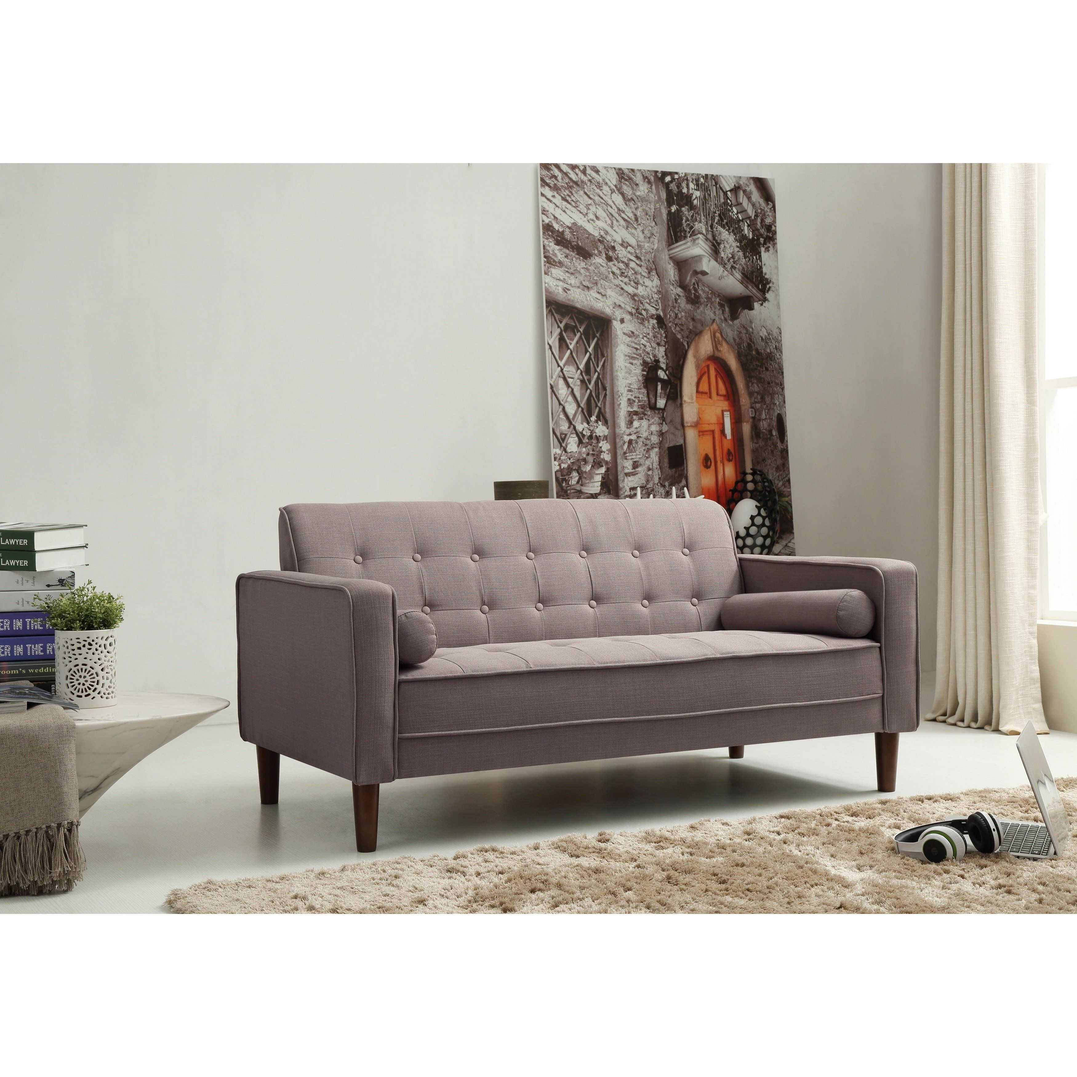 Nathaniel Home Nolan Tufted Grey Linen Sofa (Nolan Grey Sofa
