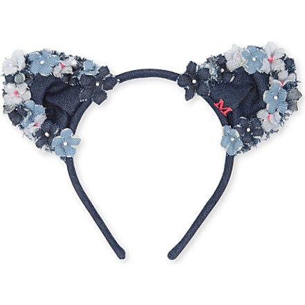 MAISON MICHEL Heidi denim flower cat ears headband (Denim