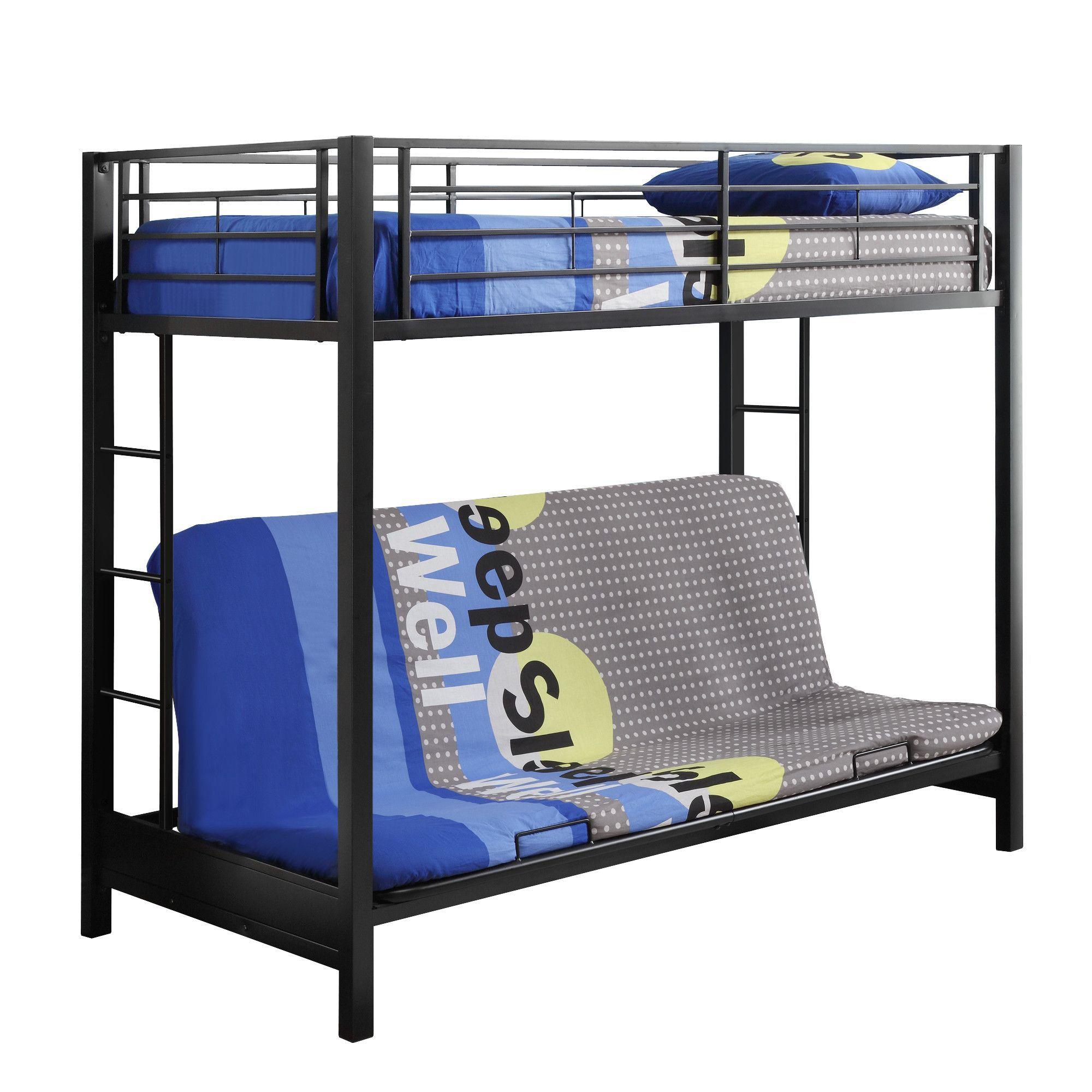 Twin over Futon Metal Bunk Bed - Black   Travel   Pinterest