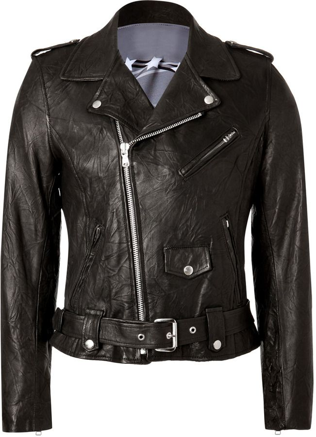 Each Other Black Leather Biker Jacket By Robert Montgomery With