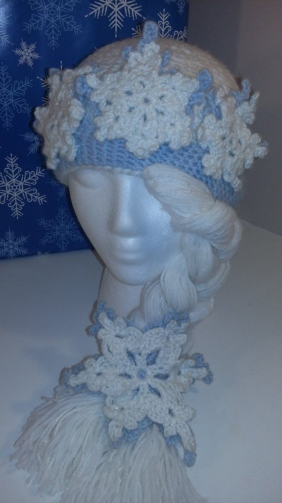 Snowflake Crown Hat / Snow Queen Hat / Crochet Hat / Girls Hat / Winter Hat / Snowflakes / Long Braided Hat / Crown #queenshats