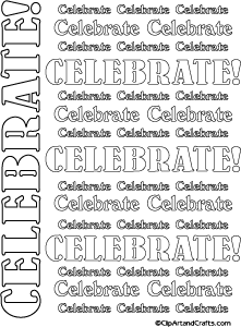 Celebrate word art line art coloring or craft template