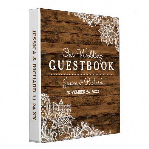 Rustic Barn Wood and Lace Wedding Guestbook Binder | Zazzle.com
