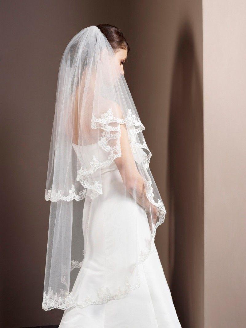 Brautschleier  Brautschleier mit Spitze 2-stufig | Hochzeitskleider | Pinterest ...