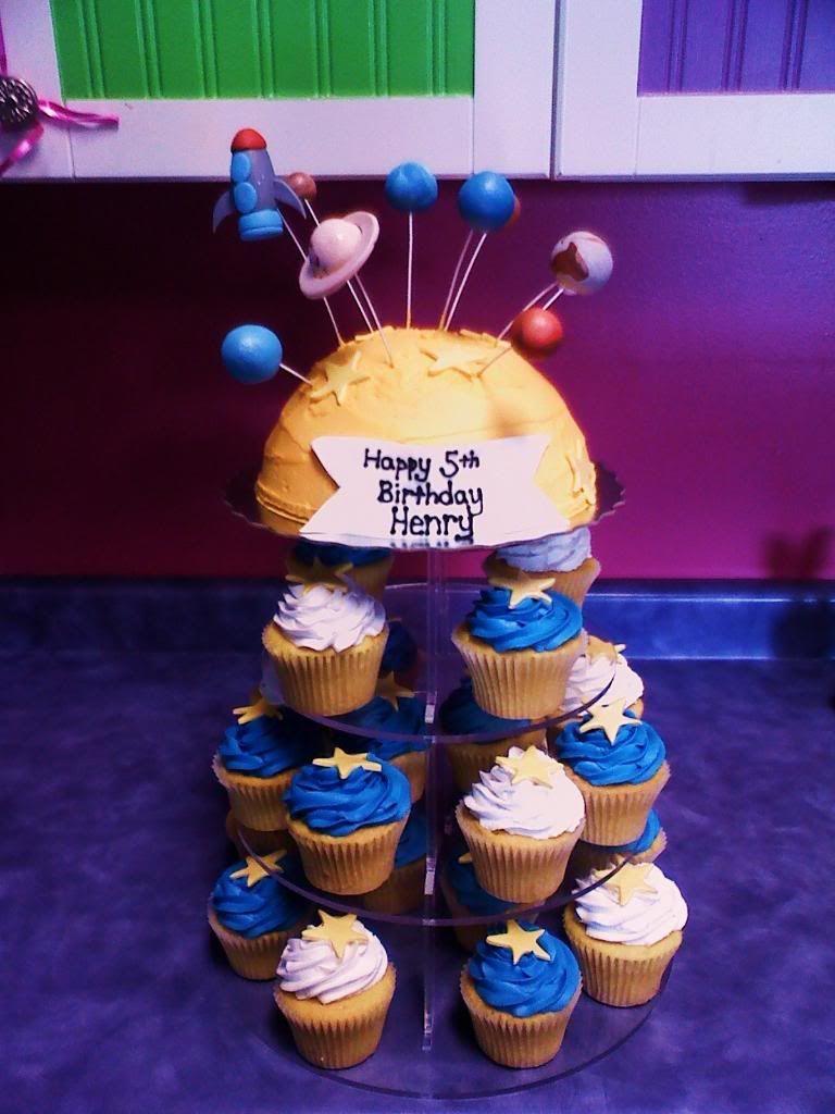 Solar System Cake and Cupcakes Image | Birthday Blast Off ...