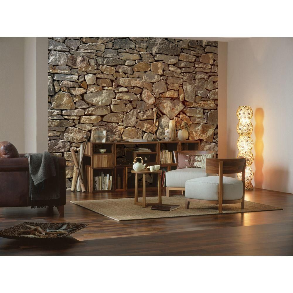 Komar 100 in. x 145 in. Stone Wall Mural8727 The Home