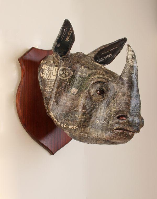 'Indian Rhino (Wall Trophy Papier Mache Mask statue)' by David Farrer