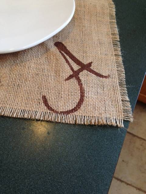 Set of four Natural burlap Placemat with initial by LuxuryLinenLoft on Etsy