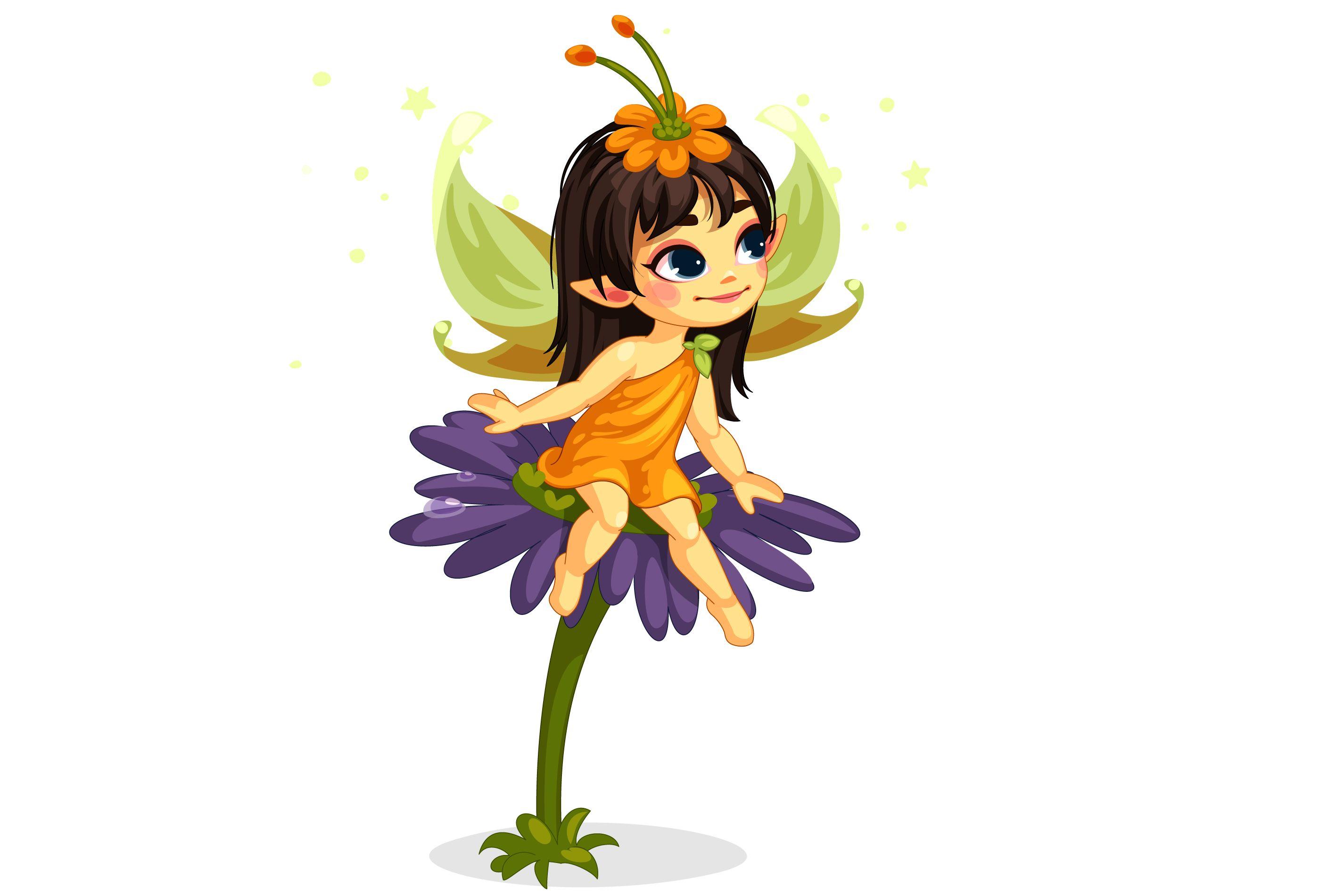 Beautiful Little Fairy Sitting On The Flower Lantern Illustration Castle Cartoon Cartoon Wings