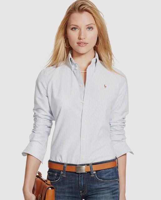 768d2421607f5 Camisa de mujer Polo Ralph Lauren con manga larga y estampado de ...
